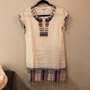 Calypso linen detailed embroidered tunic dress